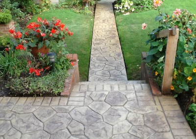 Pattern Imprinted Concrete Garden Path