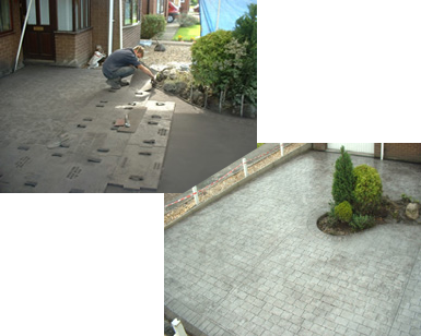 Pattern Imprinted Concrete Driveway Before and After